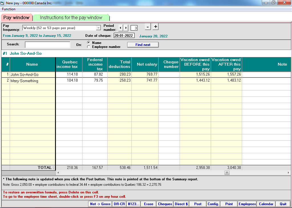 Specifications of VSPS, payroll software for Canada